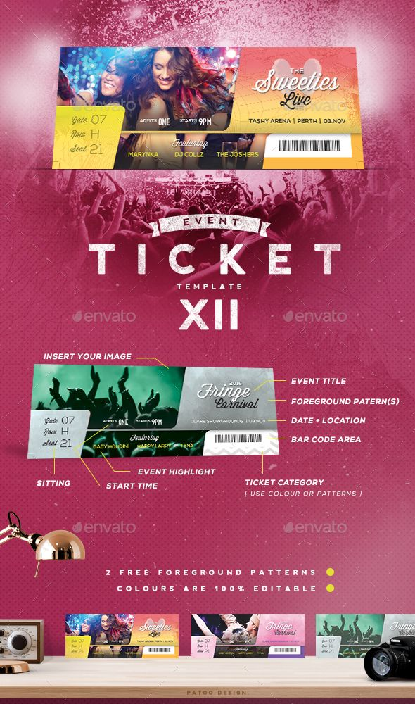Event Tickets Template XII Ticket template, Event ticket and - design tickets template