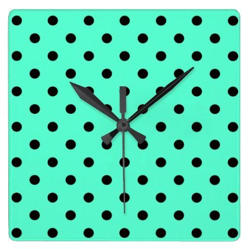 Mint Black Polka Dots - Wall Clock