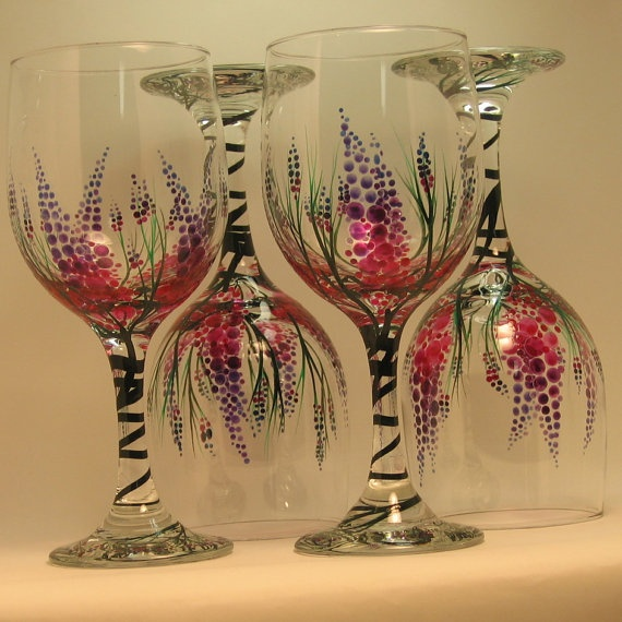 792 best wine glasses glass painting images on pinterest for Hand painted wine glass christmas designs