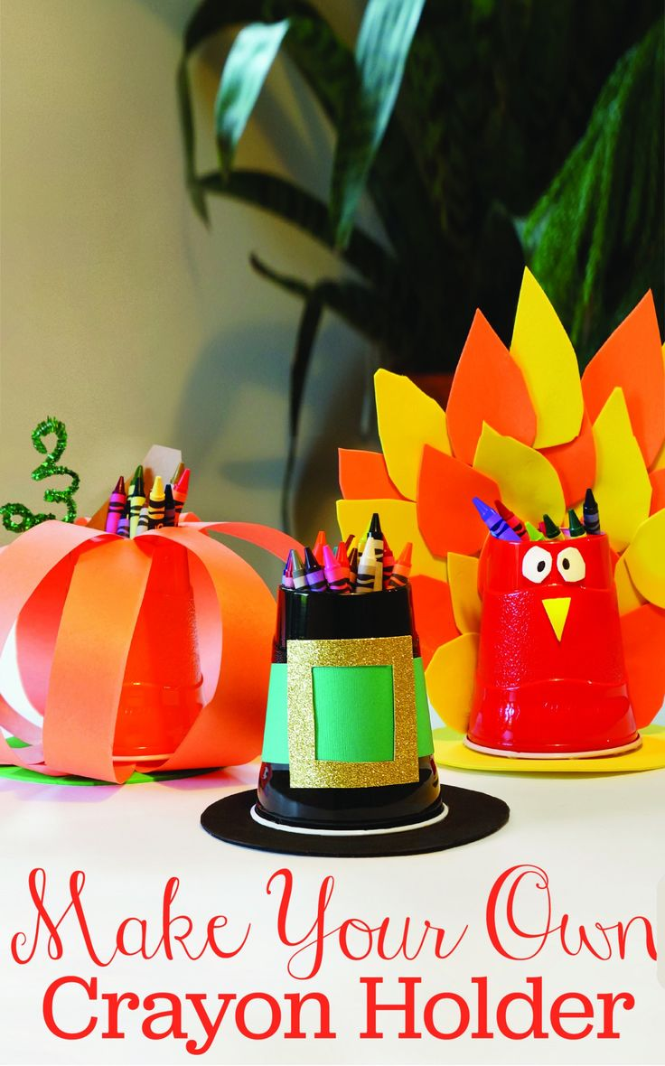 Diy thanksgiving decor kids - Make Your Own Crayon Holder Perfect For The Kids Table This Thanksgiving