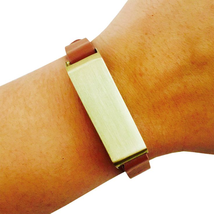 Fitbit Bracelet for FitBit Flex Fitness Trackers - The KATE Single-Strap Brushed Gold and Tan Premium Vegan Leather Buckle Fitbit Bracelet by Funktional Wearables
