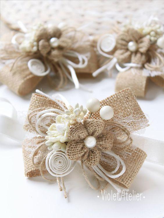 2 Burlap Flower Bridesmaid Corsages Set of 2 by VioletAtelier
