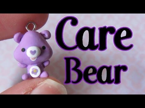 Care Bear Tutorial: Polymer Clay Charm..... She forgot to paint the rush heart on tho... I want one if every color!!!!
