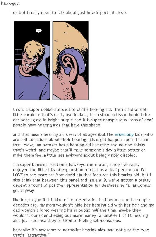 Hawkeye's visible hearing aid