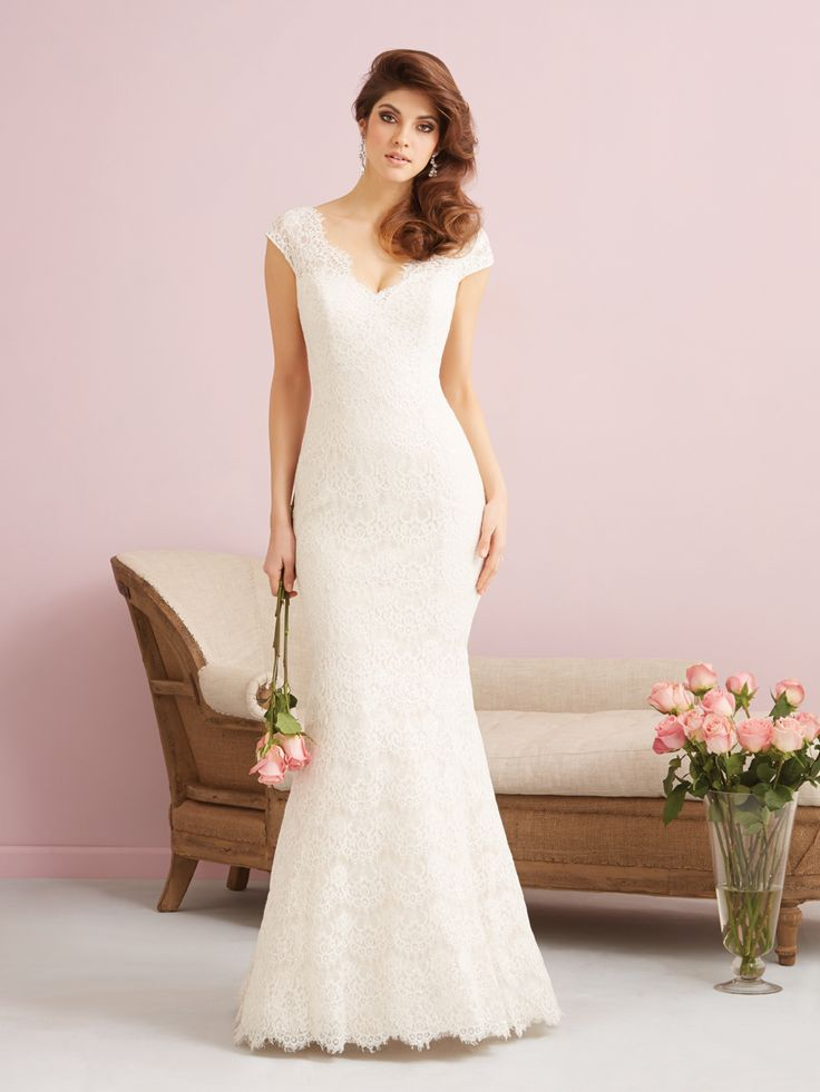 Allure Bridals 2751F - Gorgeous gilded lace covers this elegant, slim-fitting sheath, which is scalloped at the hem, neckline and open back. Brides of Melbourne | Sleek and Slinky | Bridal Gown