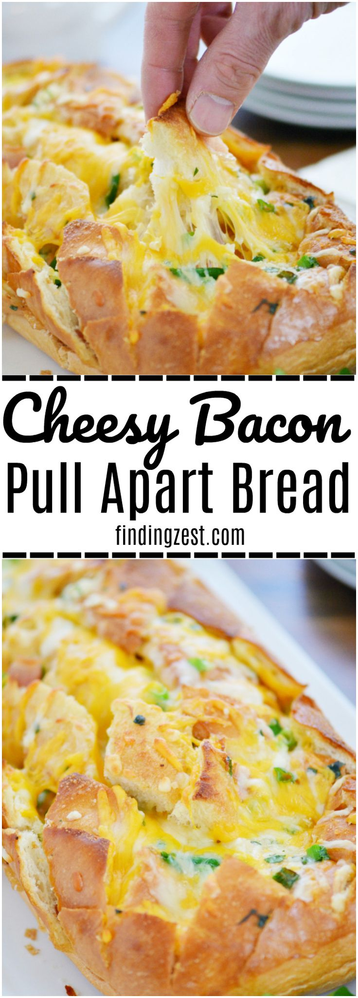 This Cheesy Bacon Pull Apart Bread is the perfect appetizer for your holiday ent…
