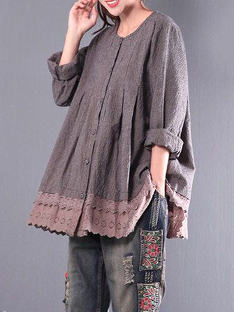 Only US$43.99 , shop Vintage Women Plaid Lace Patchwork Long Sleeve Blouses at Banggood.com. Buy fashion Blouses online.