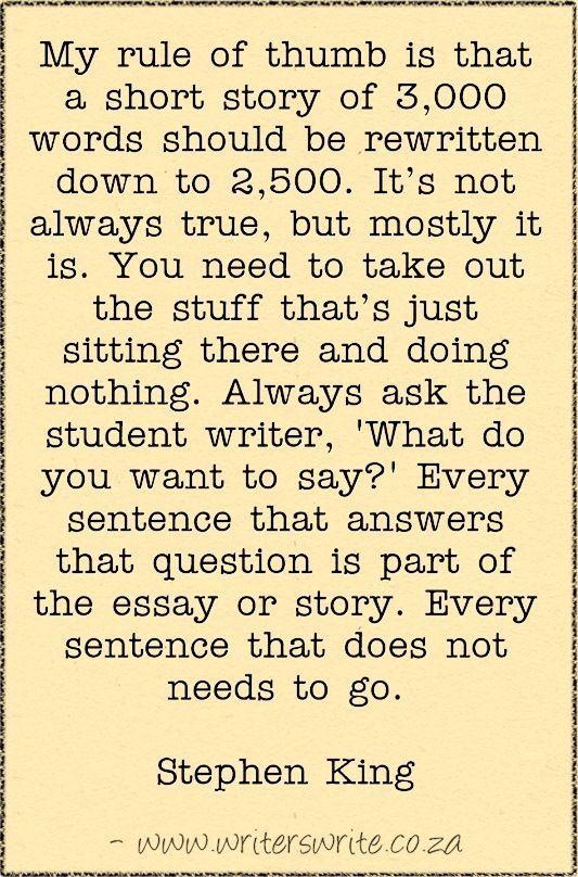 Stephen King On Writing Short Stories - Writers Write - good words of advice