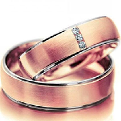 14K White and Rose Gold Wedding RingsEngagement by ZeebahJewelry