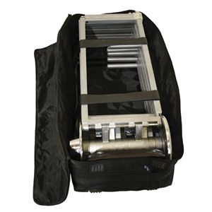 The X-Stage frame folds down into a bag that comes with a holding frame, rubber treads, velcro straps, a handle and wheels.