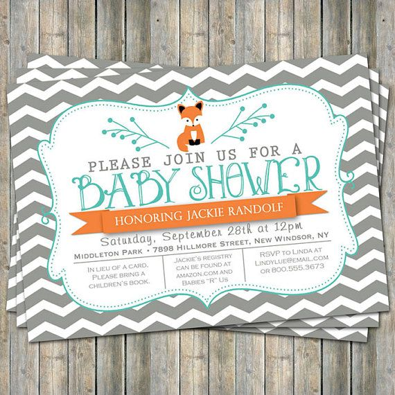 large chevron fox baby shower invitation by freshlysqueezedcards, $13.00