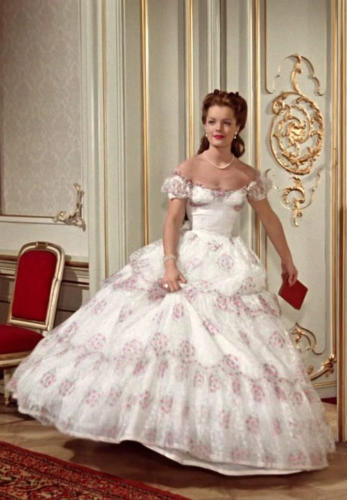 Romy Schneider in the title role in 'Sissi: The Young Empress' (1956). Costume design by Leo Bei, Gerdago and Franz Szivats. Set in mid-19th century Vienna.