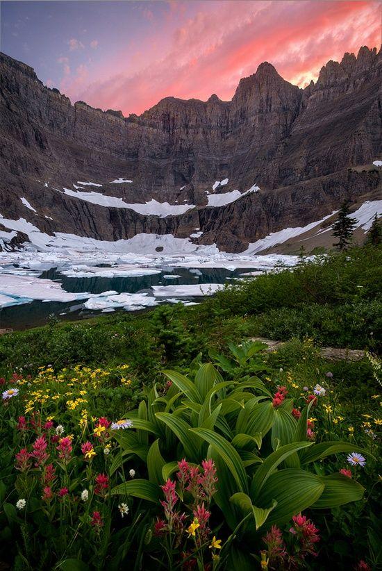 Sunset, Iceberg Lake, Glacier National Park, Montana