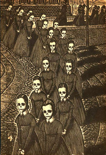 """altered version of an engraving from """"Jane Eyre"""" by Fritz Eichenberg (the original does not have skull faces)"""