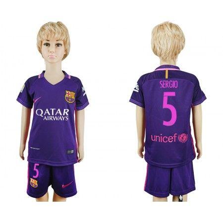 Barcelona Trøje Børn 16-17 #Sergio 5 Udebanetrøje Kort ærmer.199,62KR.shirtshopservice@gmail.com