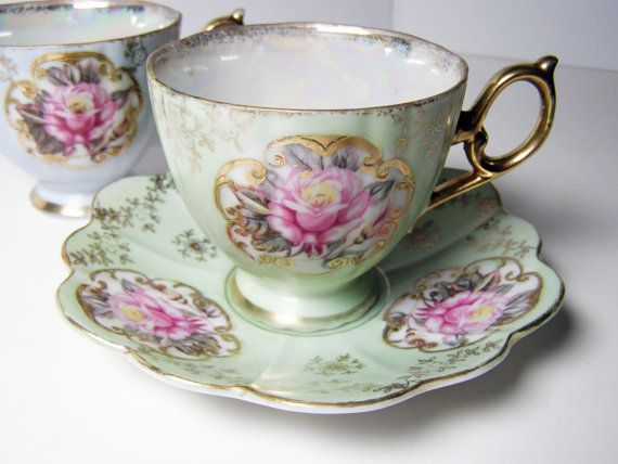 """Vintage Pair of Tea Cups and Saucers,  """"Tea for Two"""" in Mint and Blue with Pretty Pink Roses."""