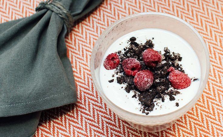 vegansk bringebærtrifle vegetarisk dessert oppskrift