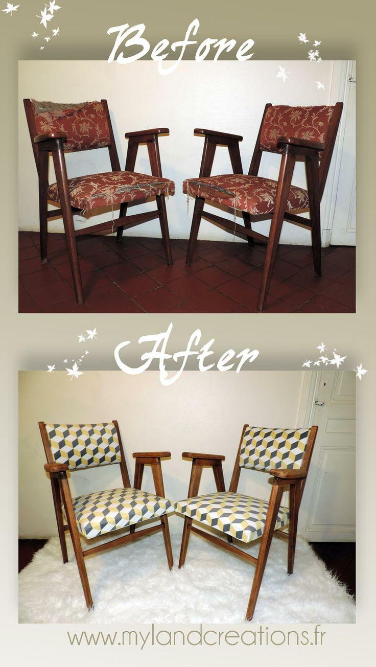 Seconde vie pour des chaises scandinaves vintage, motif tissu sur mesure : carré persceptive, façon Pierre Hardy ! Pour un intérieur moderne et cosy..