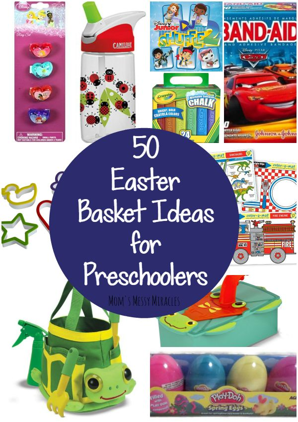 Easter Baskets don't need to be all about the candy! Here are 50 ideas that your preschooler will love!
