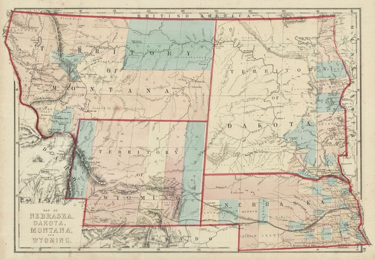 Map Of Nebraska Dakota Montana And Wyoming HH