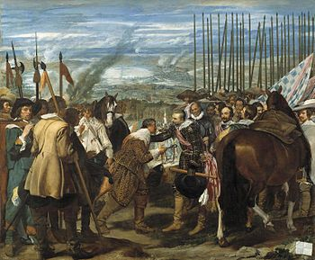 "The Surrender of Breda - Diego Velazquez.  1633-35.  Oil on canvas.  120 3/4 x 144 1/2"".  Museo del Prado, Madrid, Spain."