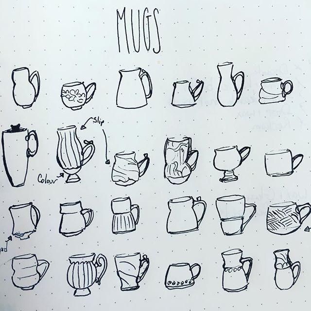 Mugs mugs mugs mugs  #drawing #wip #pottery #sketchbook