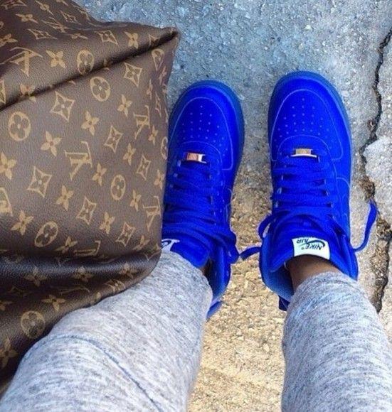 shoes neon nike air dark blue bag sneakers