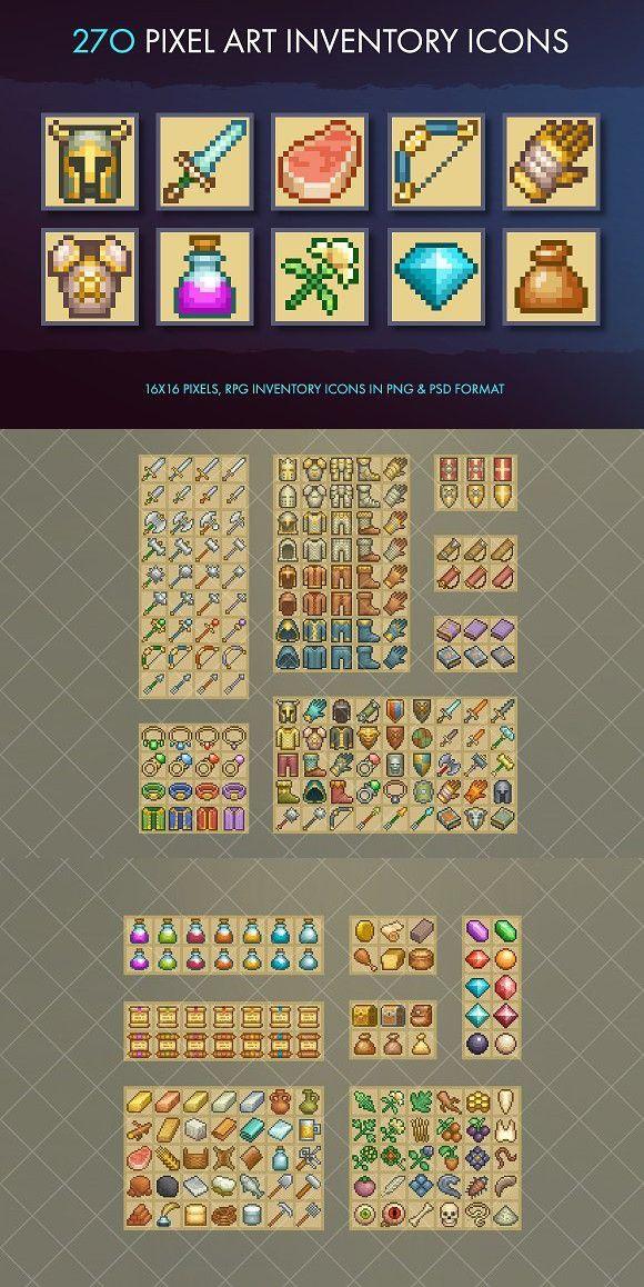 Pixel Art Inventory Icons - 16x16. Icons
