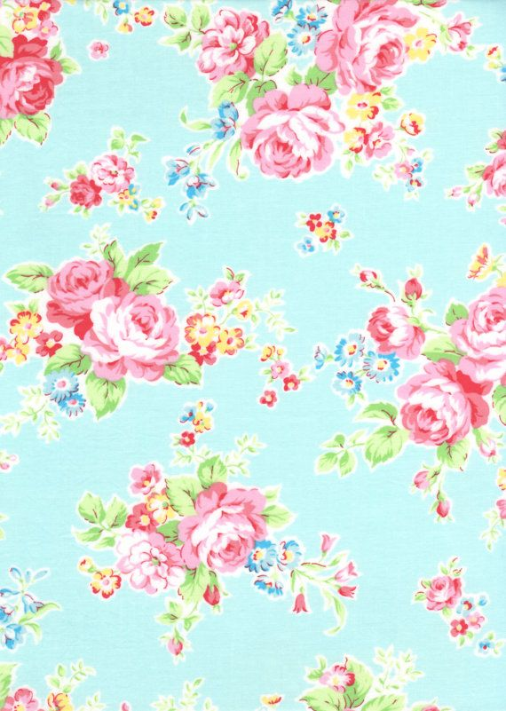Japanese, Lecien ANTIQUE FLOWER in PASTEL, 30454-70, Large Flowers in Aqua, 1/2 yard. $5.00, via Etsy.