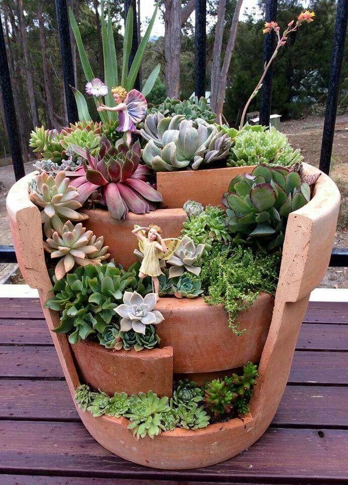Fairy garden. Multiple pots stacked