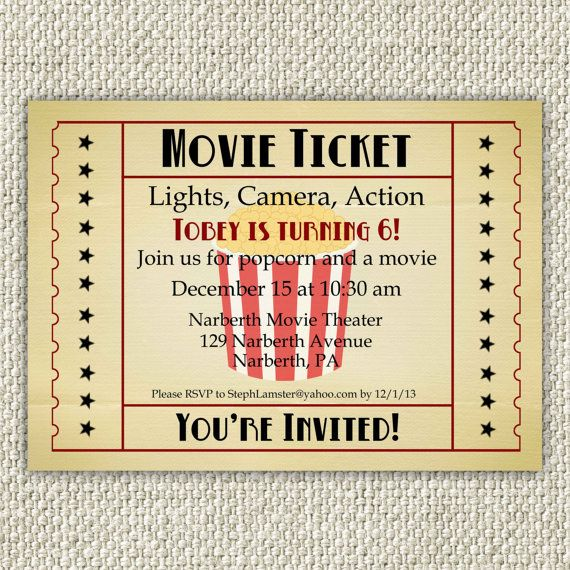 Vintage Movie Birthday Invitation, Movie Party Invitation, INSTANT DOWNLOAD Movie Ticket Invitation, Movie Theater Invitation, movie theatre