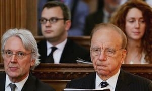 Rupert Murdoch with Les Hinton, a former News Corporation executive, Andy Coulson and Rebekah Wade, at a church service in 2015