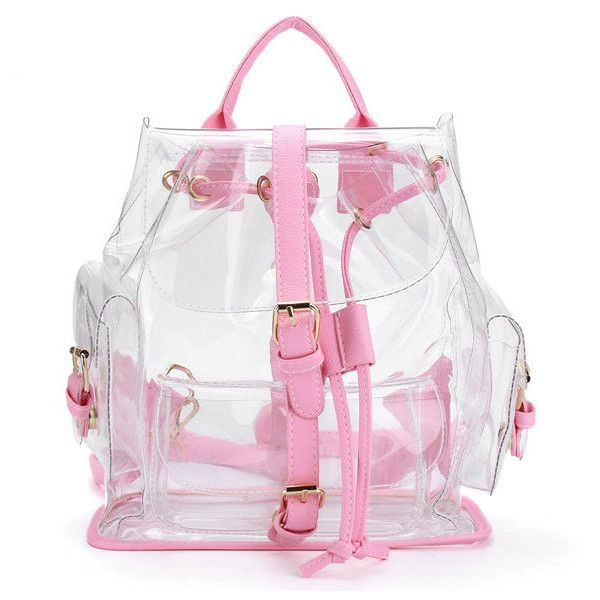 Women Girl Clear Backpack Cute Plastic Transparent School Bag ($30) ❤ liked on Polyvore featuring bags, backpacks, bolsos, pink, clear zip bags, day pack backpack, clear backpacks, zip bag and print backpacks