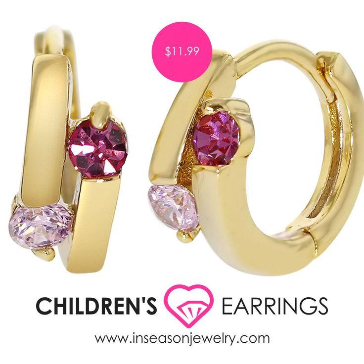 GOLD FILLED 18K LITTLE HOOP HUGGIE PINK CRYSTAL TEEN GIRL CHILDREN EARRINGS 8MM // $11.99