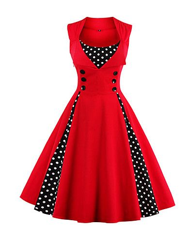 cb3a460db2888 Women's Plus Size Party / Holiday / Going out Vintage / 1950s A Line Dress  - Polka Dot Red, Print Wine Light Blue Green XXL XXXL 4XL #fashion #styles  ...