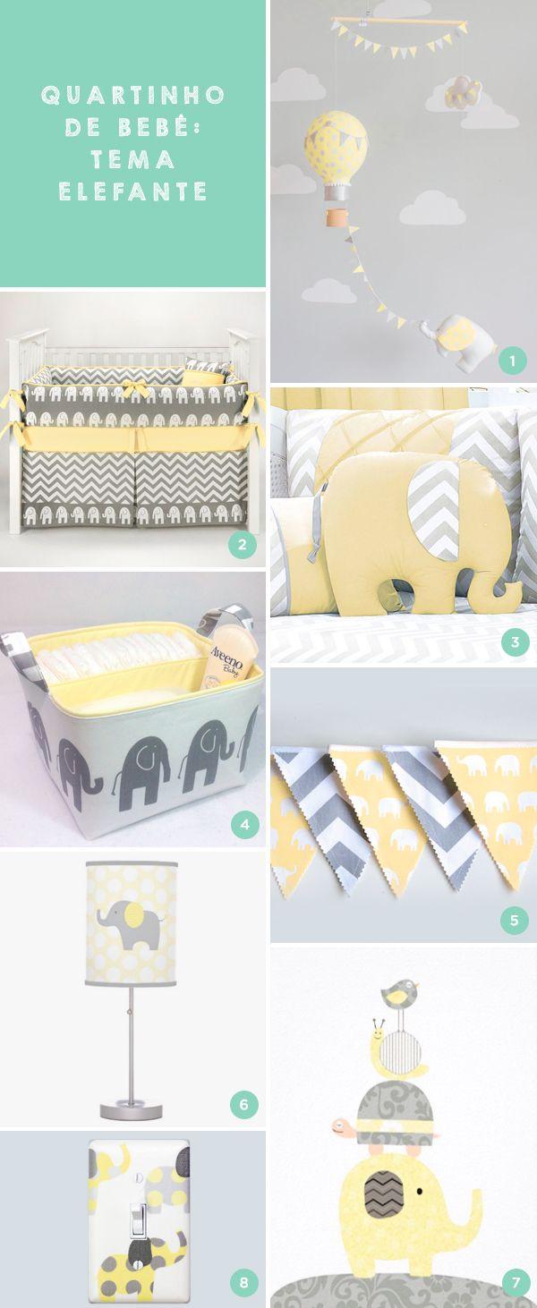 7 peças de elefante em amarelo e cinza para o quartinho do bebê
