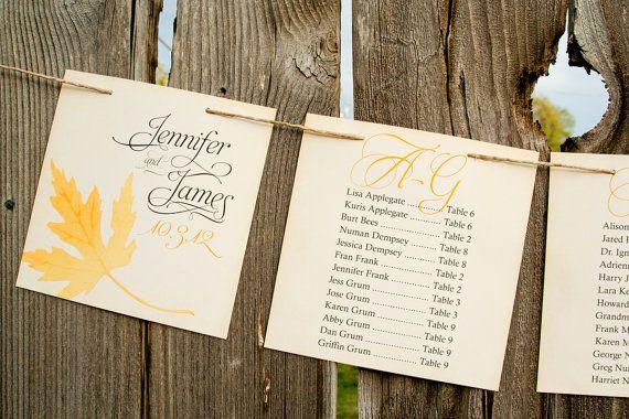 Golden Leaf Wedding Seating Chart Custom Banner  Printed by mavora, $10.00