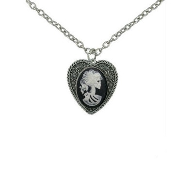 Zombie Cameo Heart Necklace