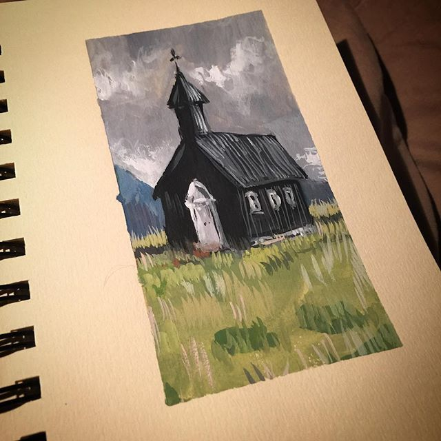 #art #drawing #sketch #sketching #instaart #instasketch #painting #paint #quick  #winsorandnewton #gouache #brush #black #church #landscape #doodle
