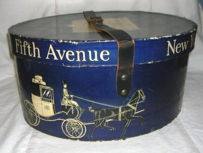 1920s Dobbs Fifth Ave New York Hat Box Leather Strap
