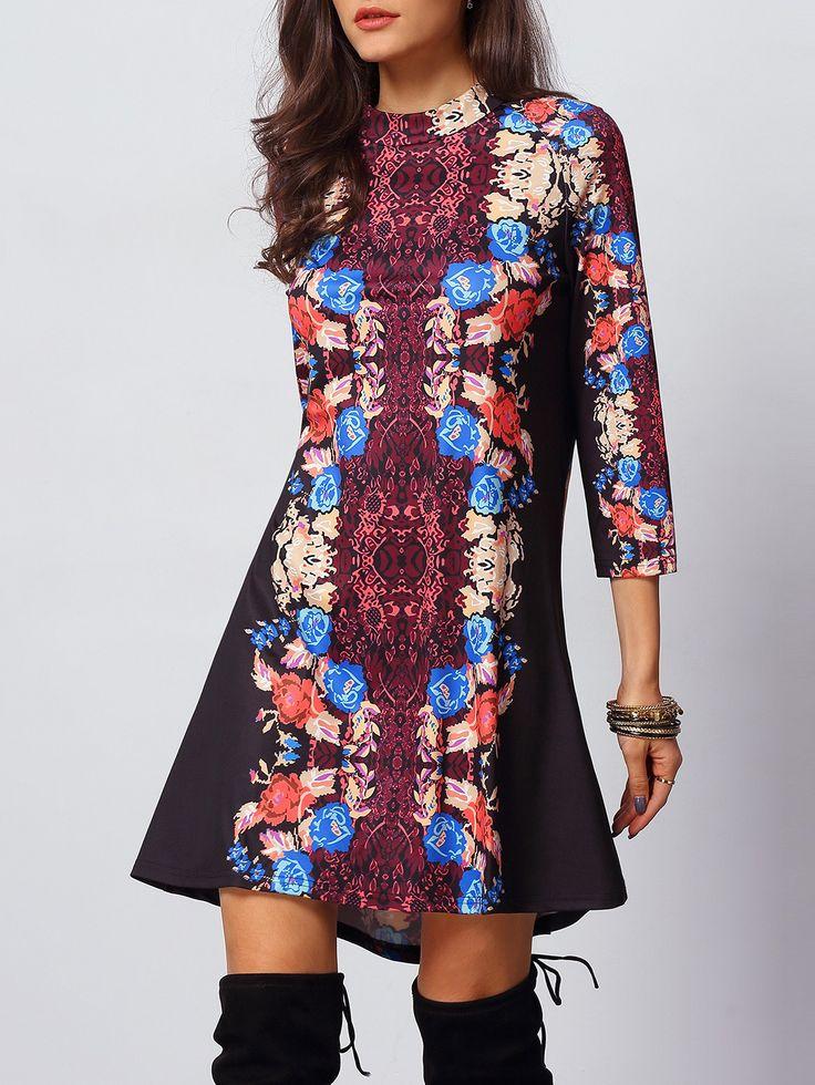 Vestido cuello redondo vintage -multicolor 14.54