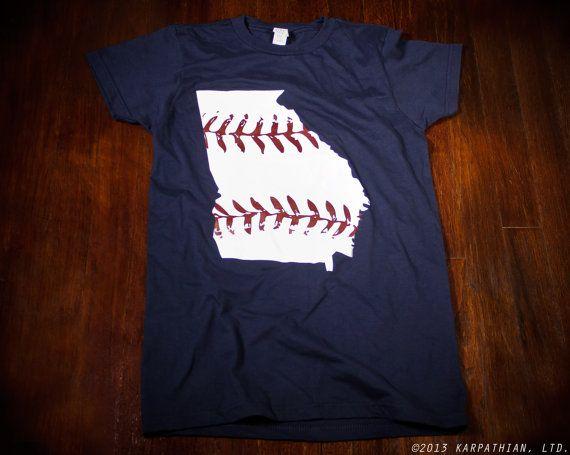 Georgia baseball Ladies t-shirt in Atlanta Braves colors Buy Any 3 Shirts Get a 4th FREE on Etsy, $14.99