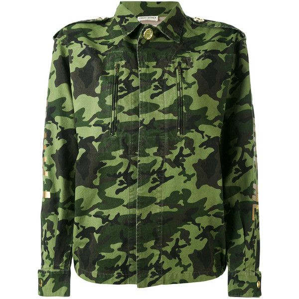 Each X Other back print camouflage military jacket (965 BRL) ❤ liked on Polyvore featuring outerwear, jackets, green, camo print jacket, cotton jacket, camo jackets, camouflage jackets and military jackets