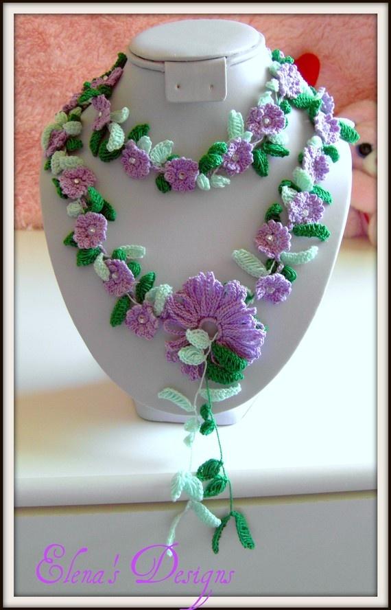 Necklace Lariat Crochet Spring Flowers