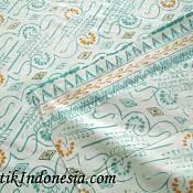 Kain Batik Cap Priangan Motif Lereng Liris Toska Putih