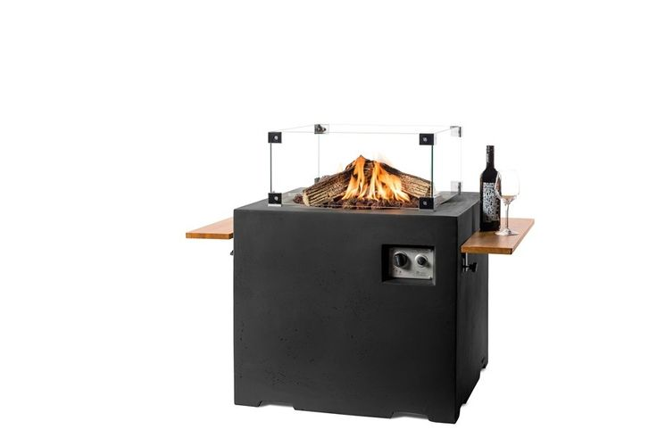 Gazowe palenisko ogrodowe Lounge&Dining 76x 76 x 67 cm czarne - Kominki Gazowe Outdoor - Grille ogrodowe i wyposażenie tarasu Biokominki,Grille ogrodowe,Drzwi, Podłogi,Meble,Dekoracje