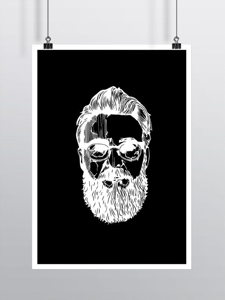 Mand - Illustrator - Poster - Sort