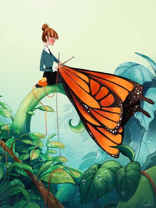 knit a butterfly