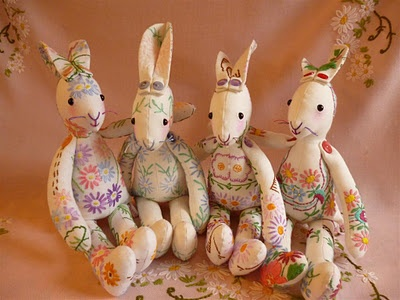 vintage linen embroidered bunnies