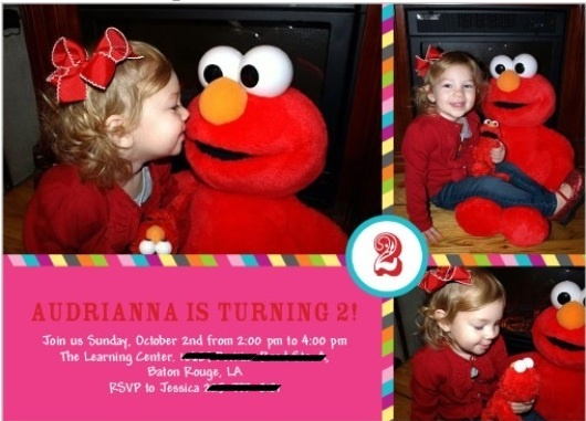 Elmo Invitation... Girls Party could use the pictures from when we go to Elmo live!!!